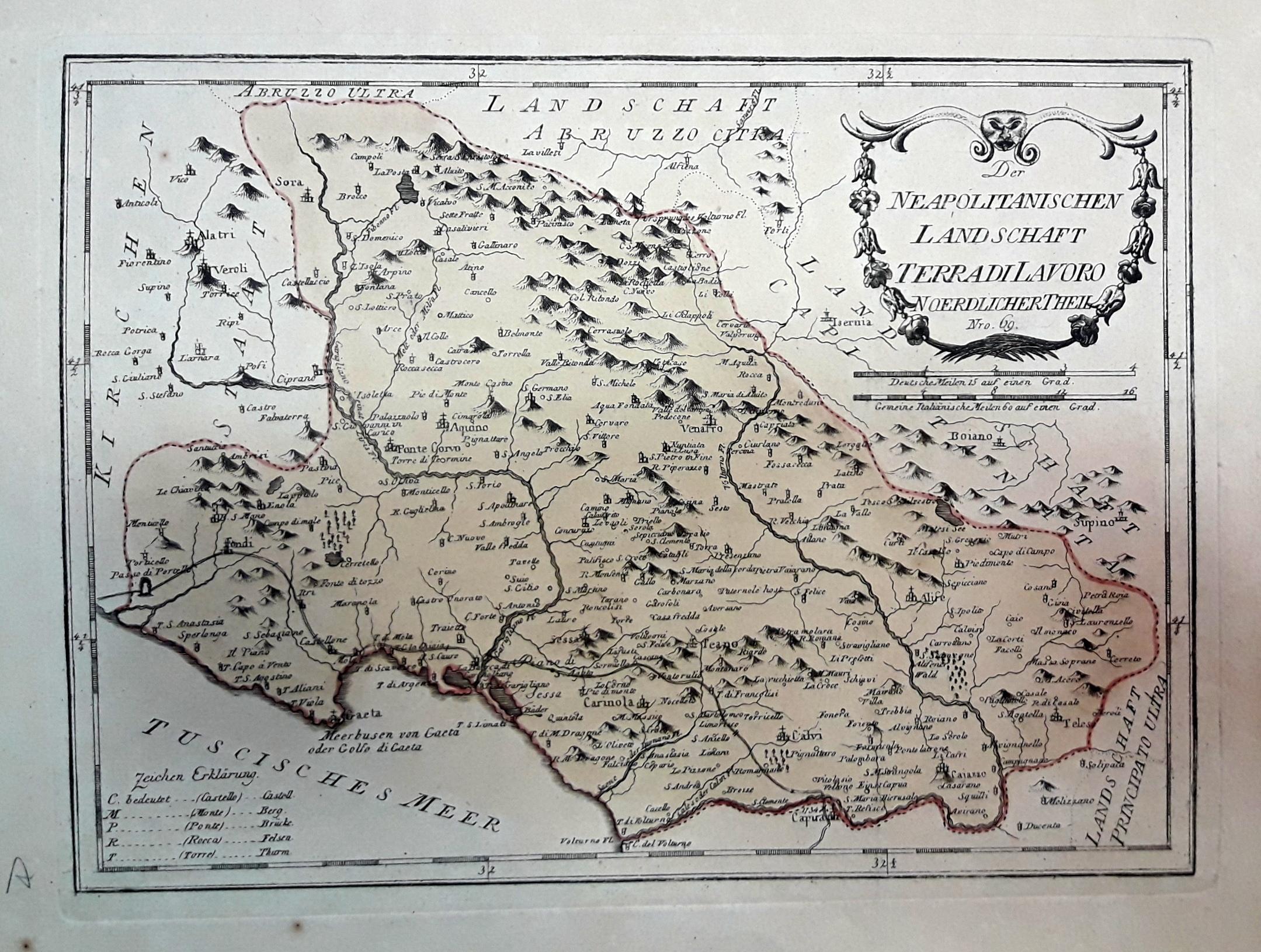Cartina Geografica Provincia Di Teramo.1791 Terra Di Lavoro Neapolitanischen Landschaft Reilly Franz Johann J