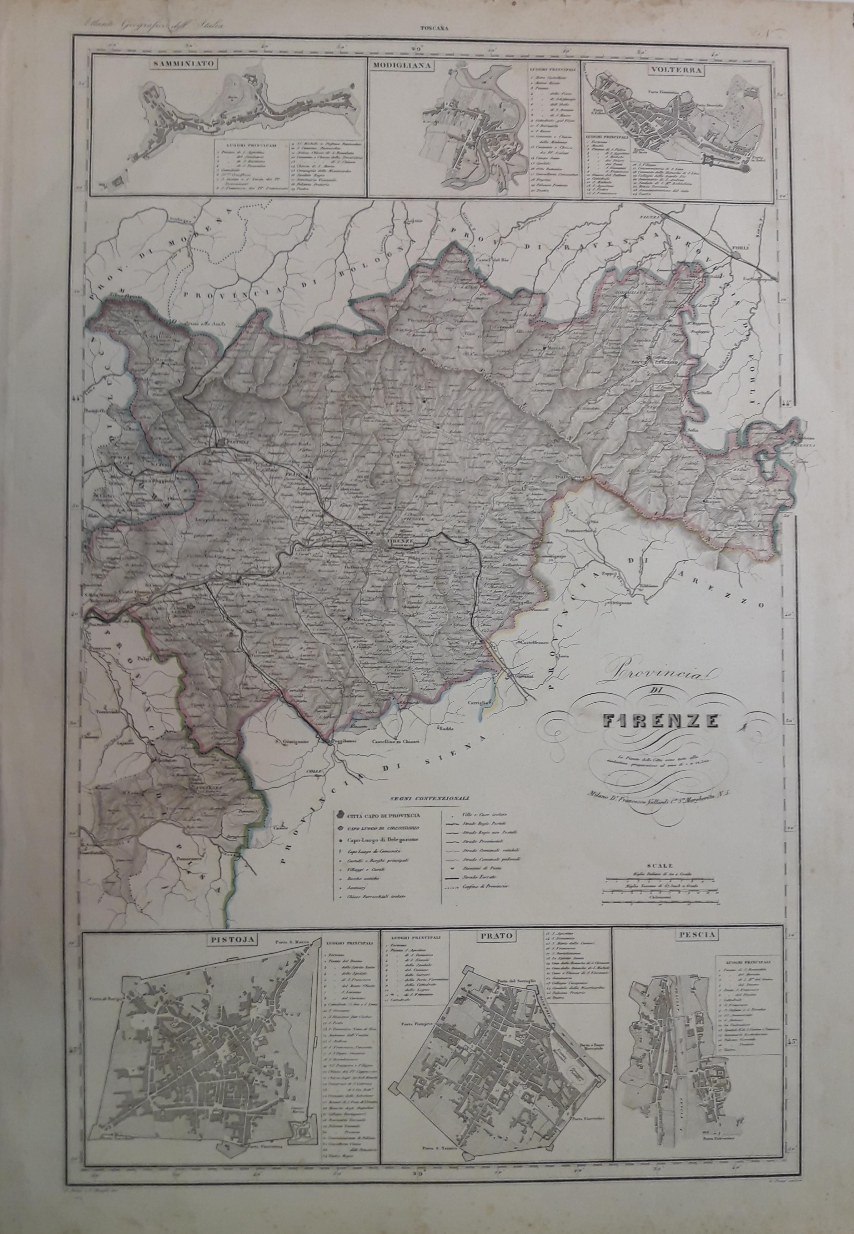 Cartina Geografica Provincia Di Firenze.Provincia Di Firenze Carta Geografica Vallardi 1841